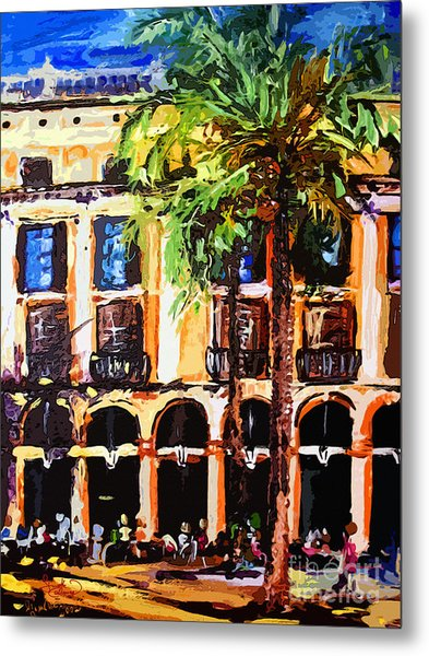 Street Cafe In Barcelona Metal Print