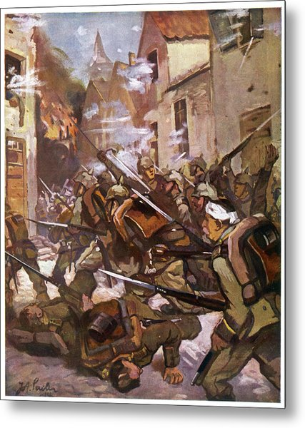 Street Fighting In A French  Village Metal Print by Mary Evans Picture Library