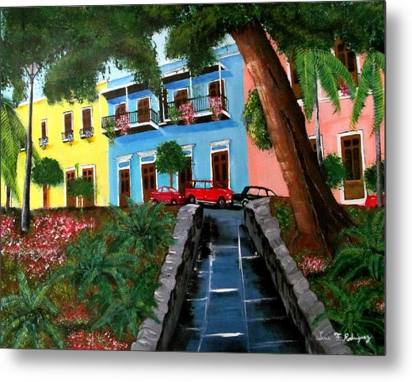 Street Hill In Old San Juan Metal Print