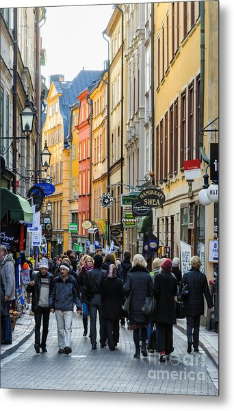 Street In Gamla Stan - The Old Part Of Stockholm - Sweden Metal Print by David Hill
