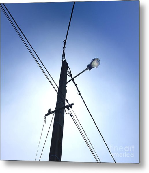 Street Lamp And Power Lines Metal Print