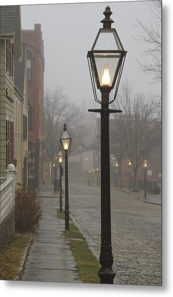 Street Lamps On Johnny Cake Hill Metal Print