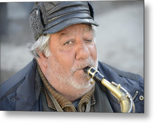 Street Musician - The Gypsy Saxophonist 1 Metal Print