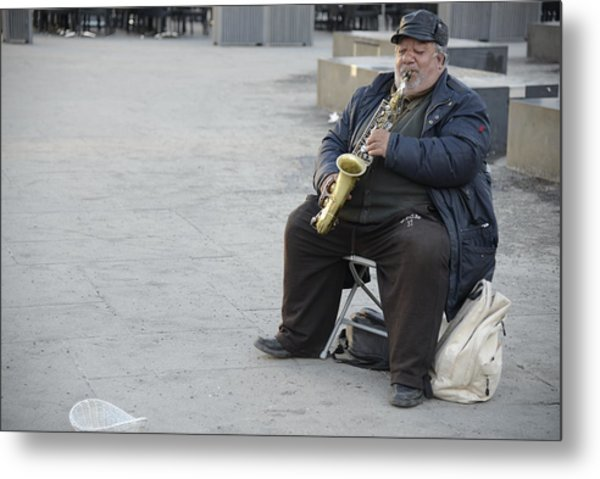 Street Musician - The Gypsy Saxophonist 3 Metal Print