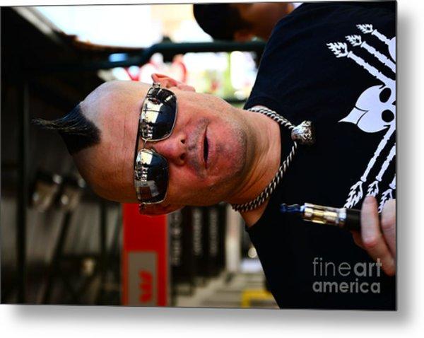 Street Performer Enjoying His Pipe Of Smoke 01 Metal Print by Bobby Mandal