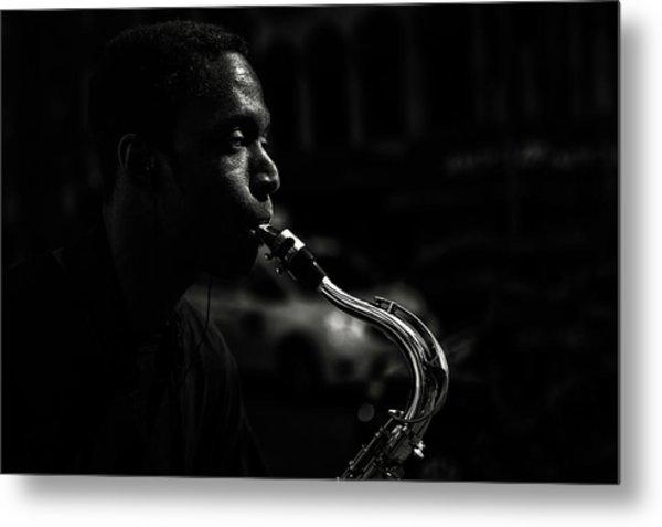 Street Saxophone Musician Metal Print