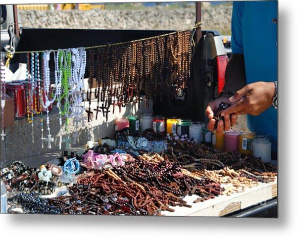 Street Vendor Selling Rosaries Metal Print