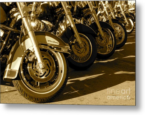 Street Vibrations Sepia Metal Print by Vinnie Oakes
