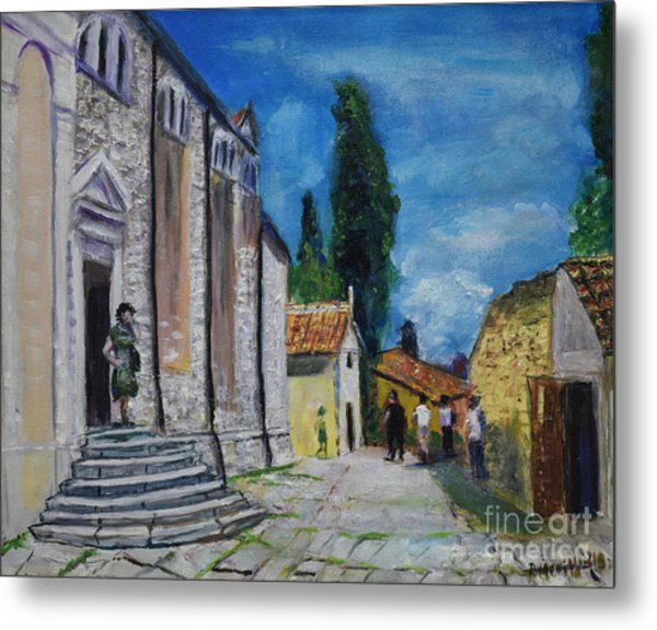 Street View In Rovinj Metal Print