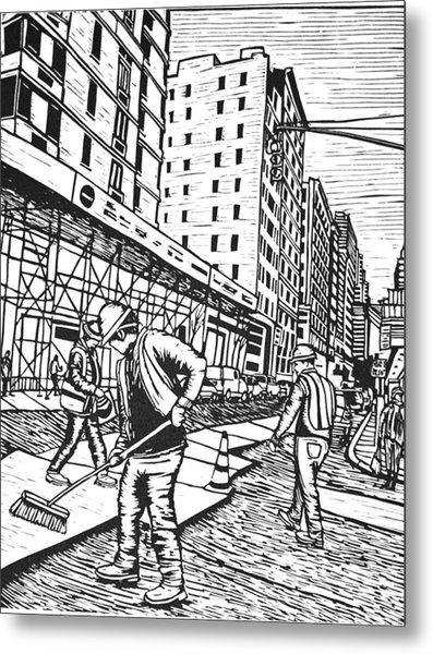 Street Work In New York Metal Print