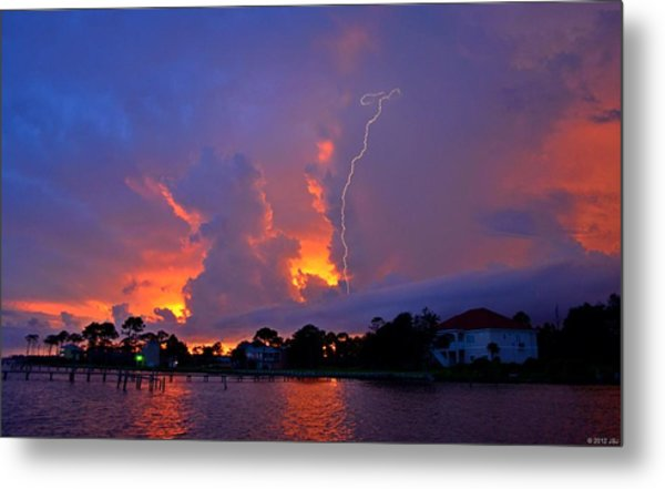 Strike Up The Middle At Sunset Metal Print