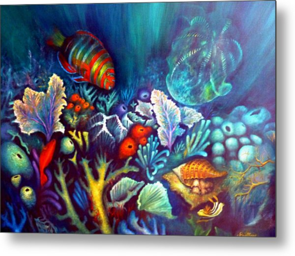 Metal Print featuring the painting Striped Fish by Lynn Buettner