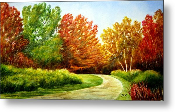 Stroll Into Autumn Metal Print