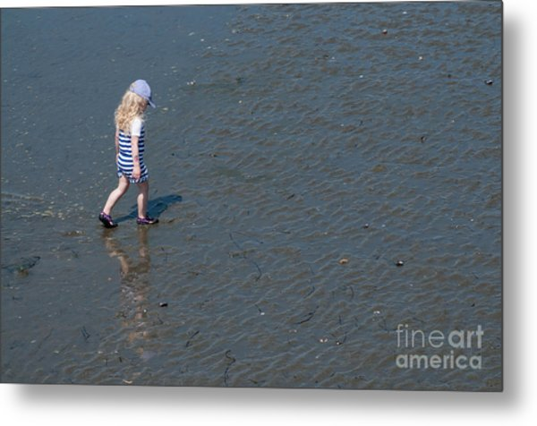 Strolling On The Beach Metal Print by Malu Couttolenc