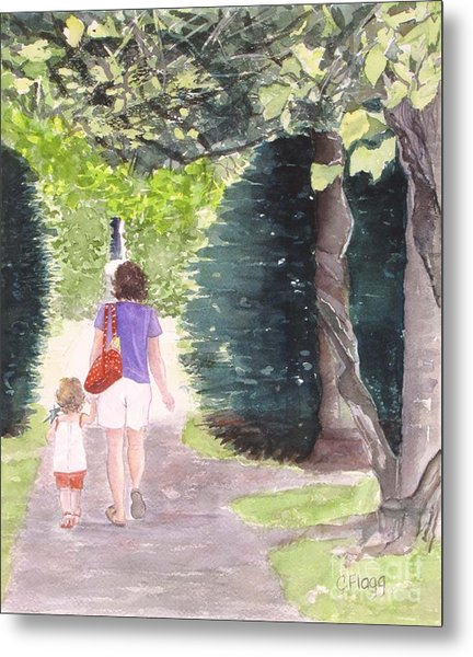 Strolling With Mom Metal Print