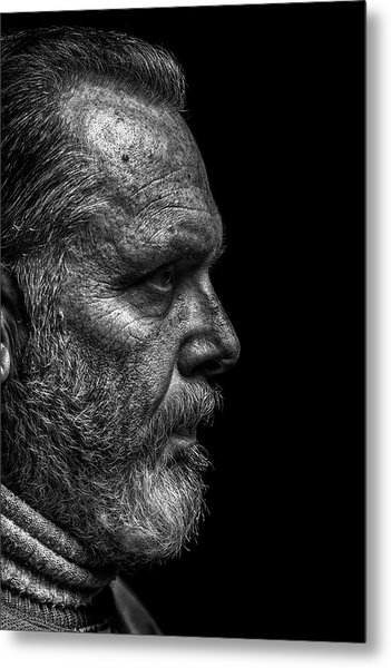 Strong B&w Portrait Of A Rugged Looking Metal Print by Cmannphoto