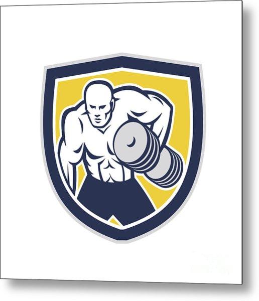 Strongman Lifting Dumbbells Front Shield Retro Metal Print by Aloysius Patrimonio