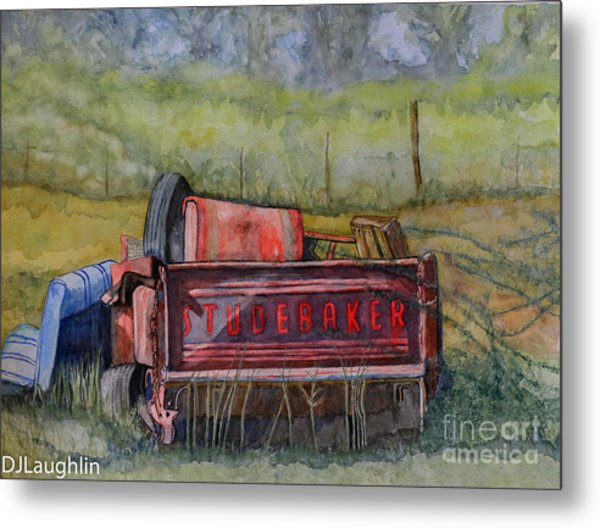 Studebaker Truck Tailgate Metal Print by DJ Laughlin