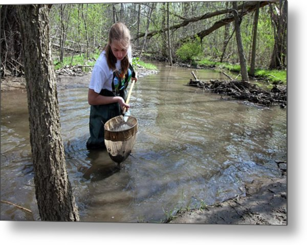 Student Studying River Ecology Metal Print