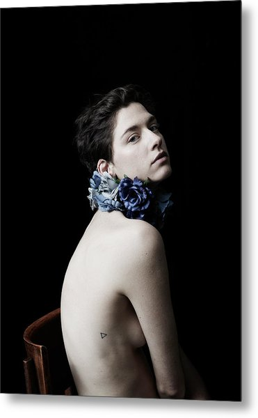 Studio Lit Portrait Of Androgynous Girl Metal Print by Felicity Mccabe