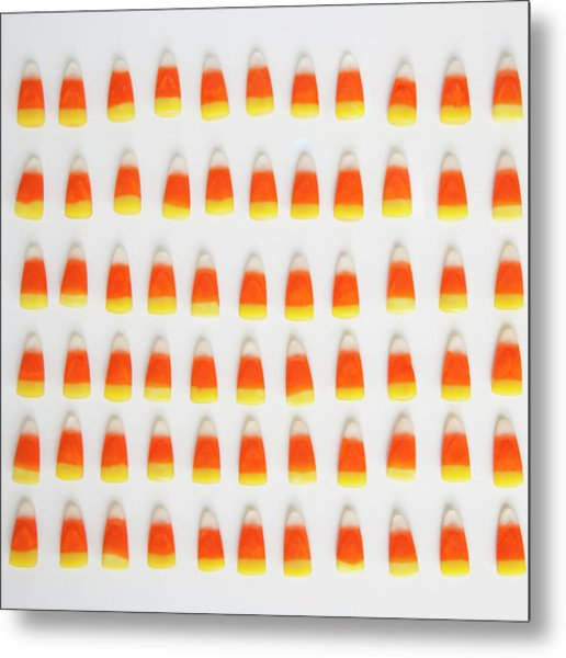 Studio Shot Of Rows Of Candy Corn Metal Print by Jessica Peterson