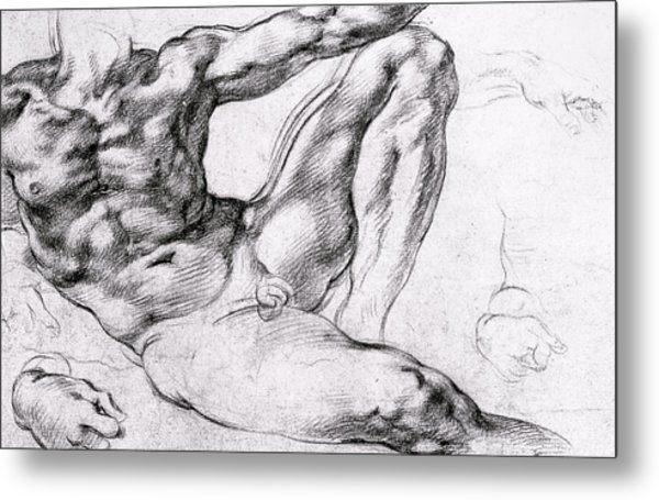 Study For The Creation Of Adam Metal Print