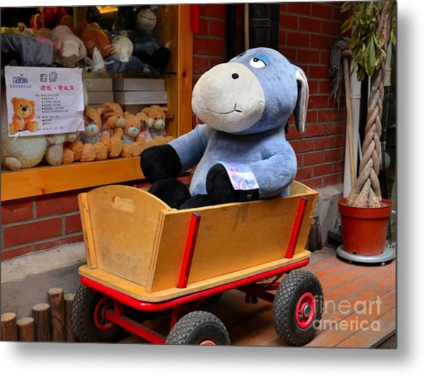 Stuffed Donkey Toy In Wooden Barrow Cart Metal Print