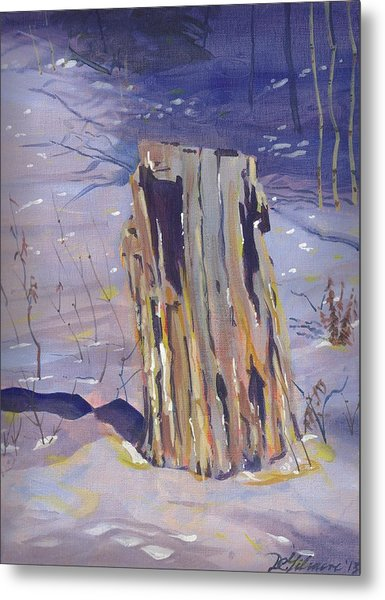 Stump In Winter Metal Print
