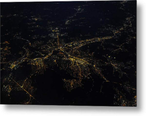 Stuttgart From The Air At Night Metal Print by (c) Florian Leist