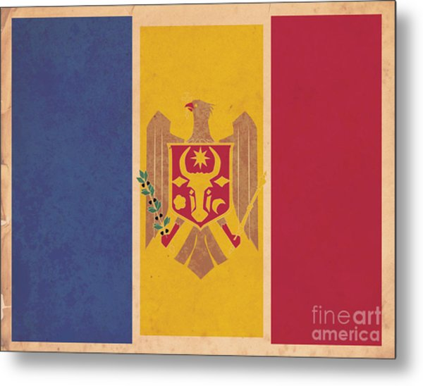 Stylized Moldovan Flag  Metal Print by Megan C