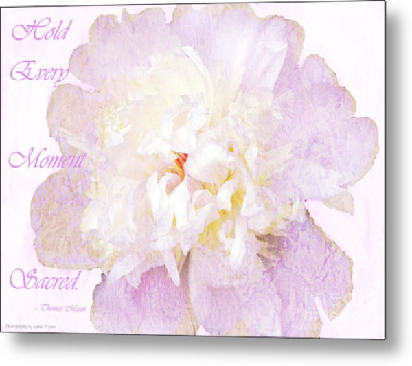 Such A Pretty Peony - Inspirational Quote Metal Print
