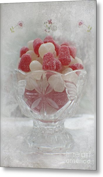 Sugar And Spice Love Red And White Metal Print