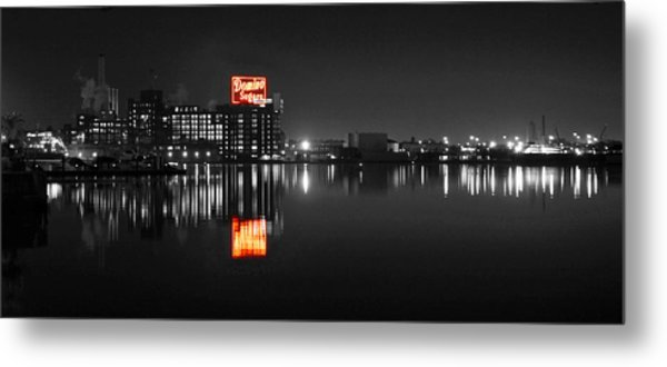 Sugar Glow - Classic Iconic Domino Sugars Neon Sign, Inner Harbor Baltimore, Maryland - Color Splash Metal Print