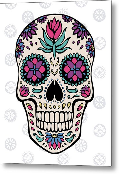 Sugar Skull Iv On Gray Metal Print