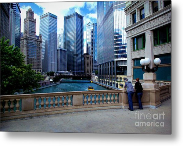 Summer Breeze On The Chicago River - Color Metal Print