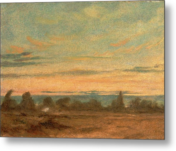 Summer - Evening Landscape, Attributed To John Constable Metal Print by Litz Collection