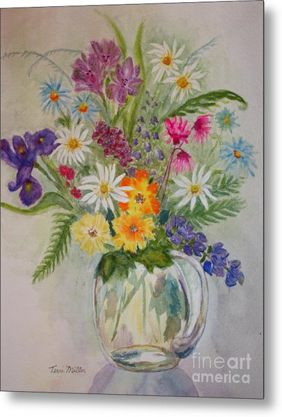Summer Flowers In Vase Metal Print by Terri Maddin-Miller