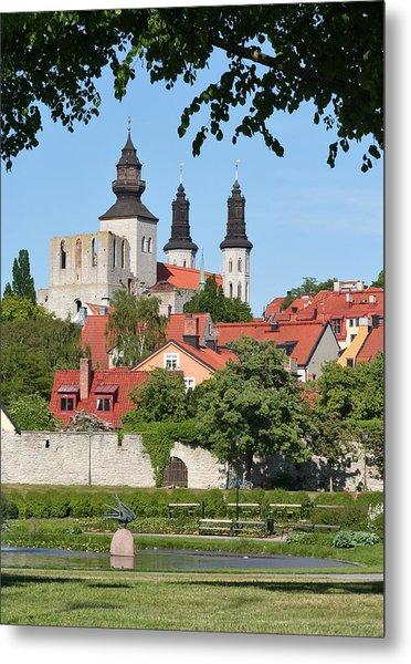 Summer Green Medieval Town Metal Print