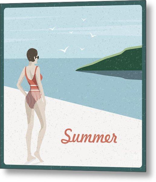 Summer Holidays Retro Poster Woman The Metal Print