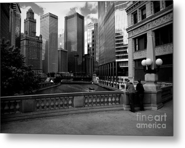 Summer On The Chicago River - Black And White Metal Print