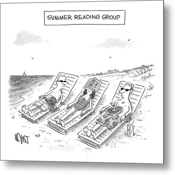 Summer Reading Group -- Three Beach Goers Lounge Metal Print