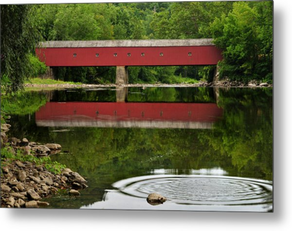 Summer Reflections At West Cornwall Covered Bridge Metal Print
