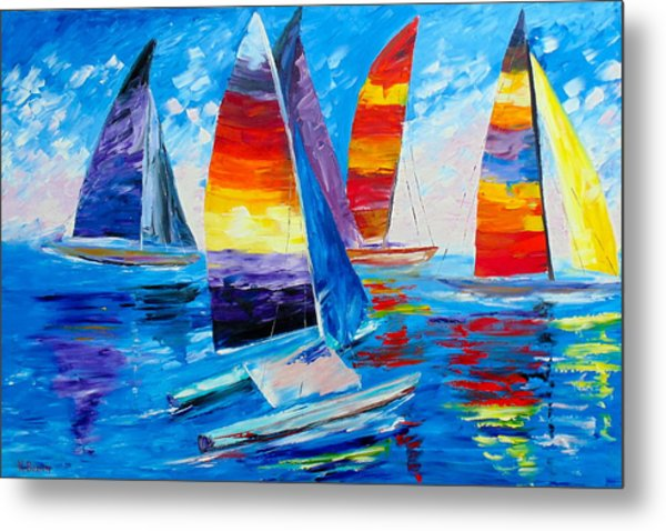 Metal Print featuring the painting Summer Regatta by Kevin  Brown