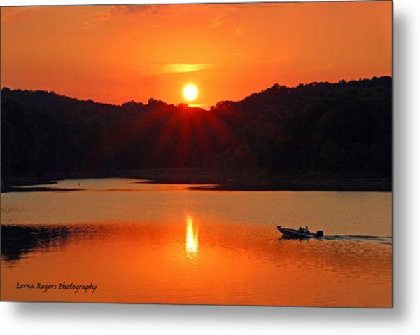 Summer Star Burst Sunset With Signature Metal Print