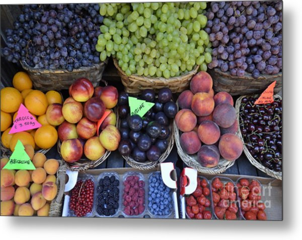 Summer Variety Of Fruits In Italy Metal Print by Sami Sarkis
