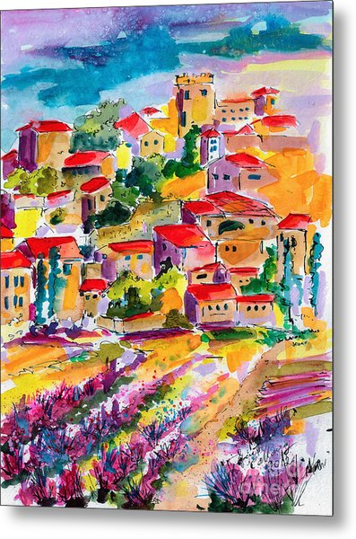 Summer Walk In Provence Metal Print