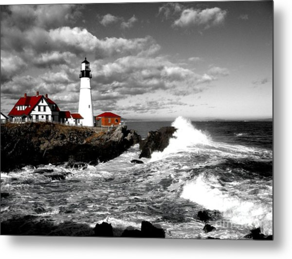 Summer Waves Red Stroke Bw Metal Print