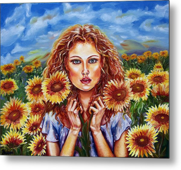 Summers Sunflowers  Metal Print by Yelena Rubin