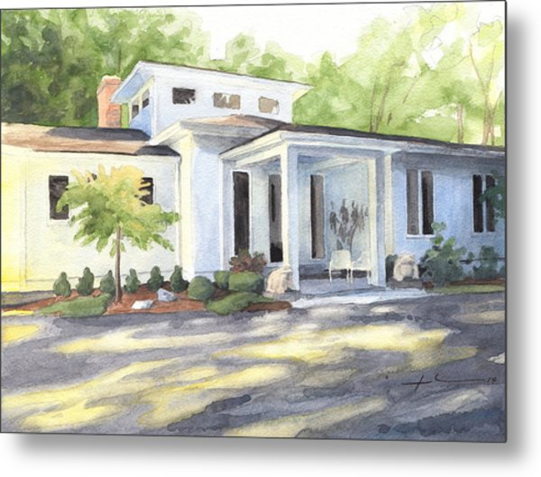 Sun And Shadow House Watercolor Portrait Metal Print by Mike Theuer