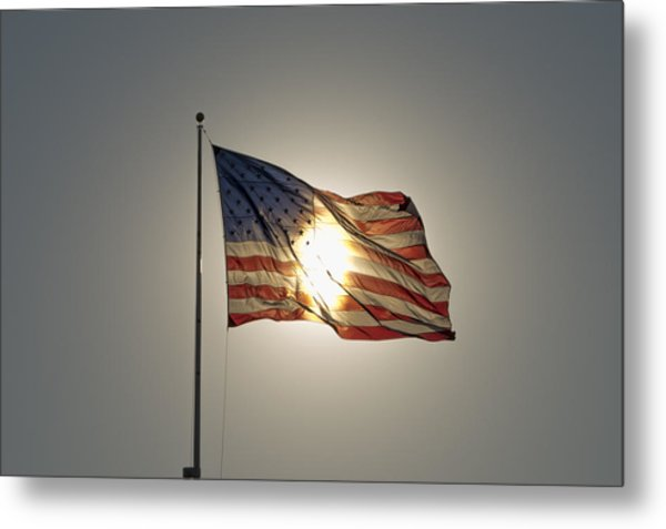 Sun Behind Stars And Stripes Metal Print by Chris Cameron
